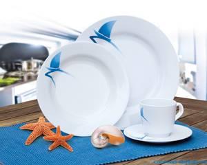 Bilde av Servise Albatross 2-pers 8-deler rund hvit m/blå